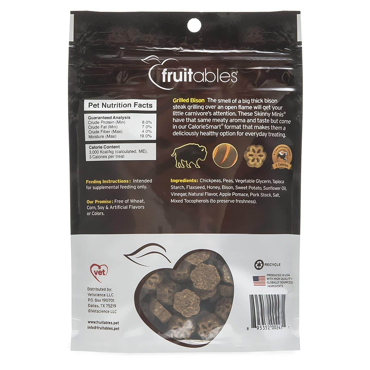 Fruitables Skinny Minis 5 Ounce Grilled Bison Chewy Dog Treats