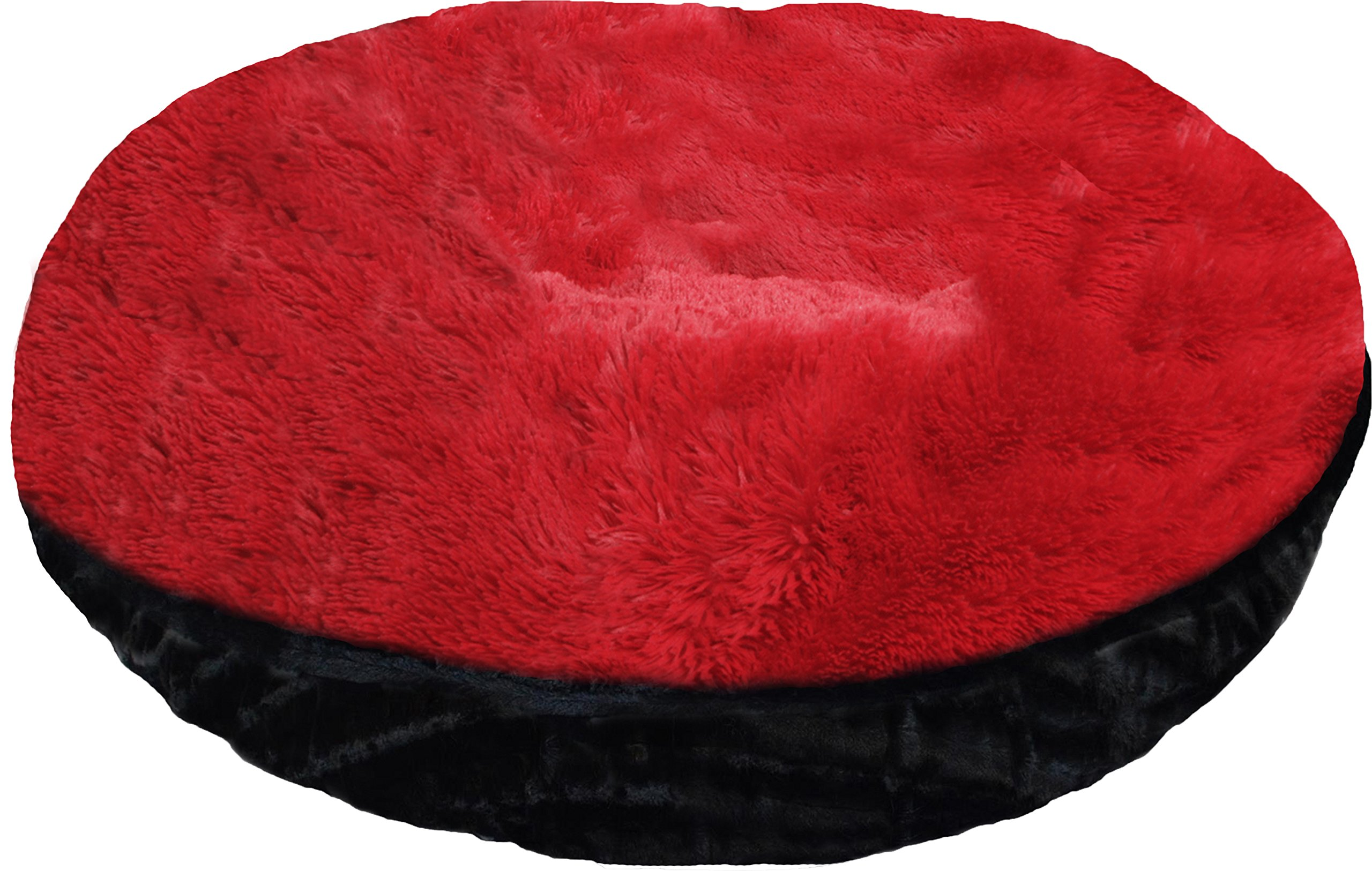 BESSIE AND BARNIE 42-Inch Bagel Bed for Pets, Large, Black Puma/Lipstick