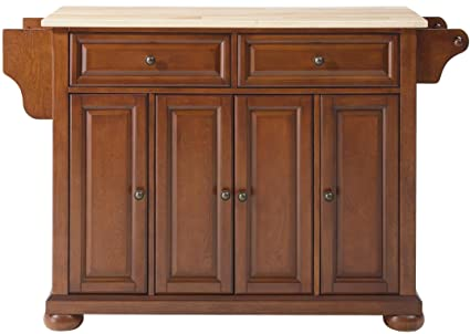 Crosley Furniture Alexandria Kitchen Island With Natural Wood Top   Classic  Cherry
