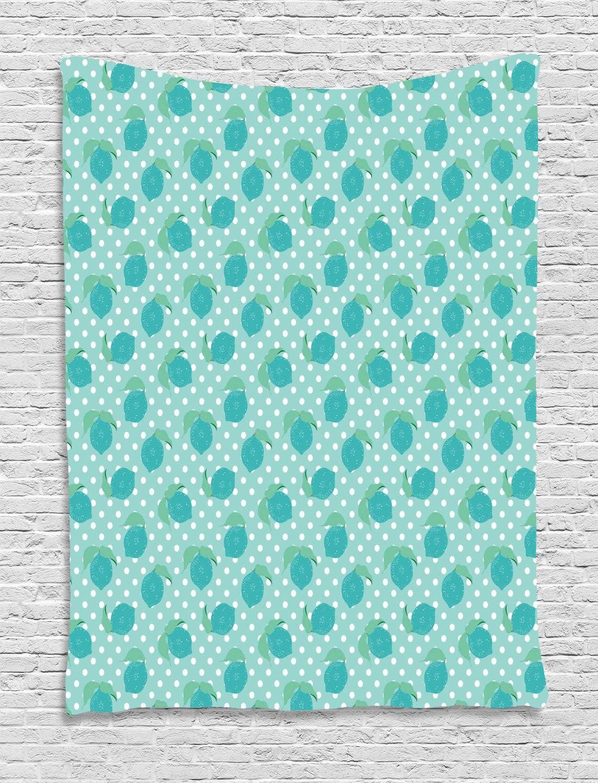 ABAKUHAUS Limones Tapiz de Pared, Sparsed Dulce Limones, para el Dormitorio Apto Lavadora y Secadora Estampado Digital, 150 x 200 cm, Espuma De Mar del Trullo Y Negro