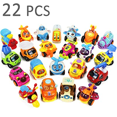 22 Play Vehicles, Friction Powered Pull Back Toys, Helicopters, Trucks, Trains, Aeroplanes, Racing Car, Scooter, Learning, Educational for 2, 3, 4, 5, 6 Kids Toddler Color May Vary - iPlay, iLearn