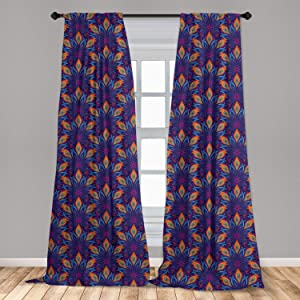 "Ambesonne Mandala Window Curtains, Vibrant Colored Floral Pattern Eastern Style Vintage Art Desin Print, Lightweight Decorative Panels Set of 2 with Rod Pocket, 56"" x 84"", Blue Orange"