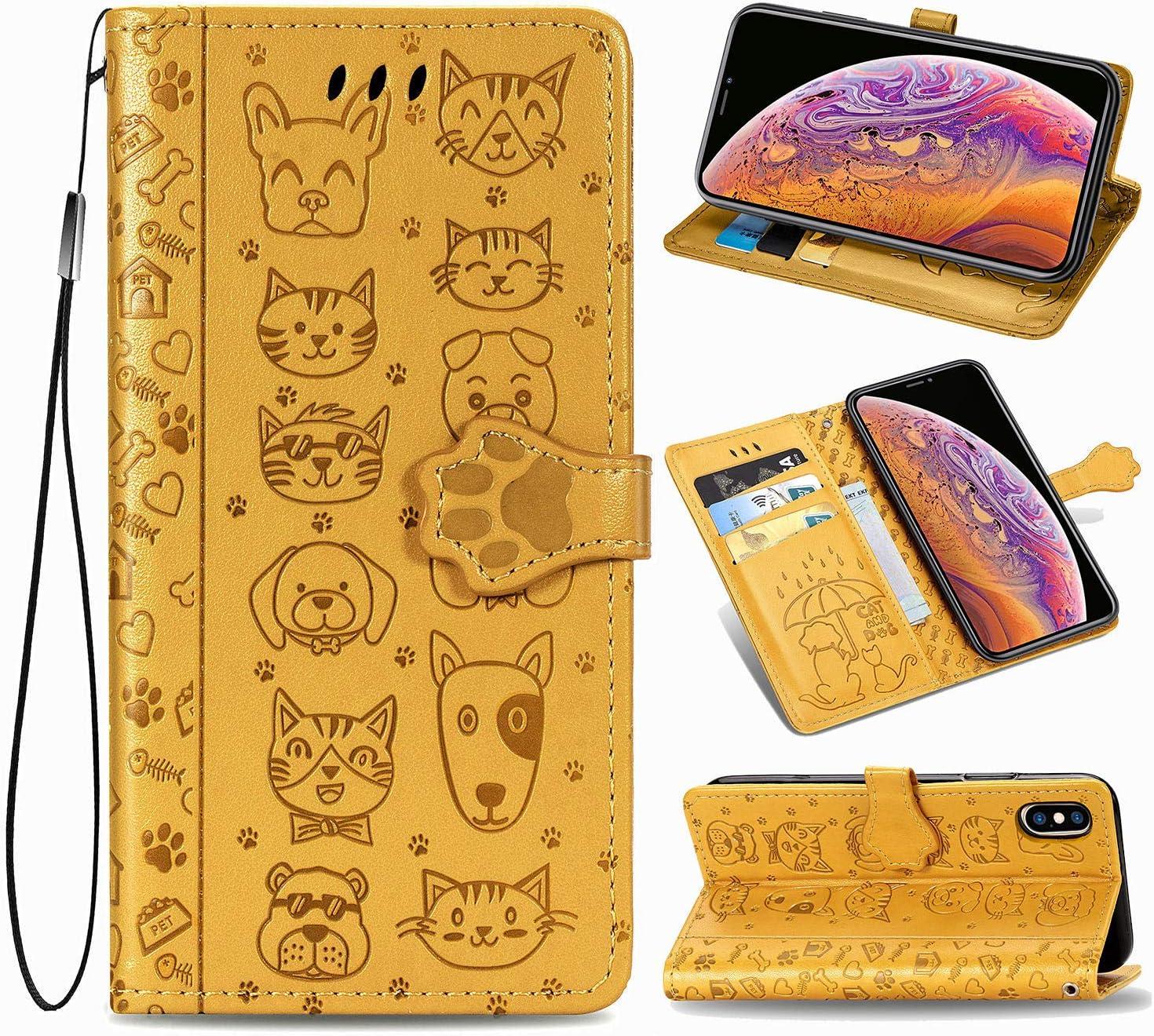 Oihxse Billetera Cuero Funda Compatible con Xiaomi Redmi 8 PU Libro Tapa Flip Soporte Plegable Protector Magnético Carcasa Gato Perro Lindo Animal Diseño Wallet Case-Amarillo