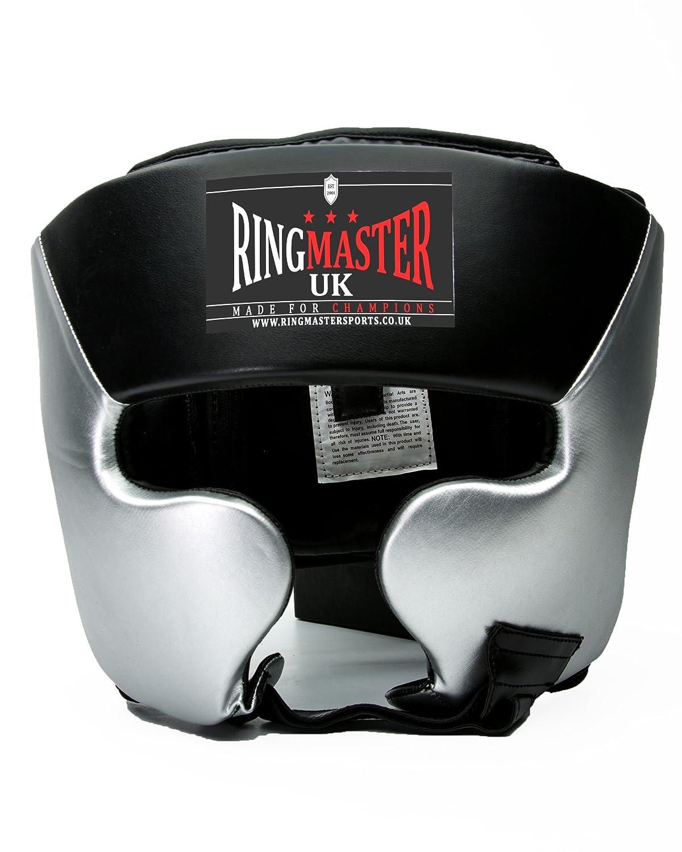 RingMasterUK casco de boxeo de piel sintética, color plateado/negro HG-50005
