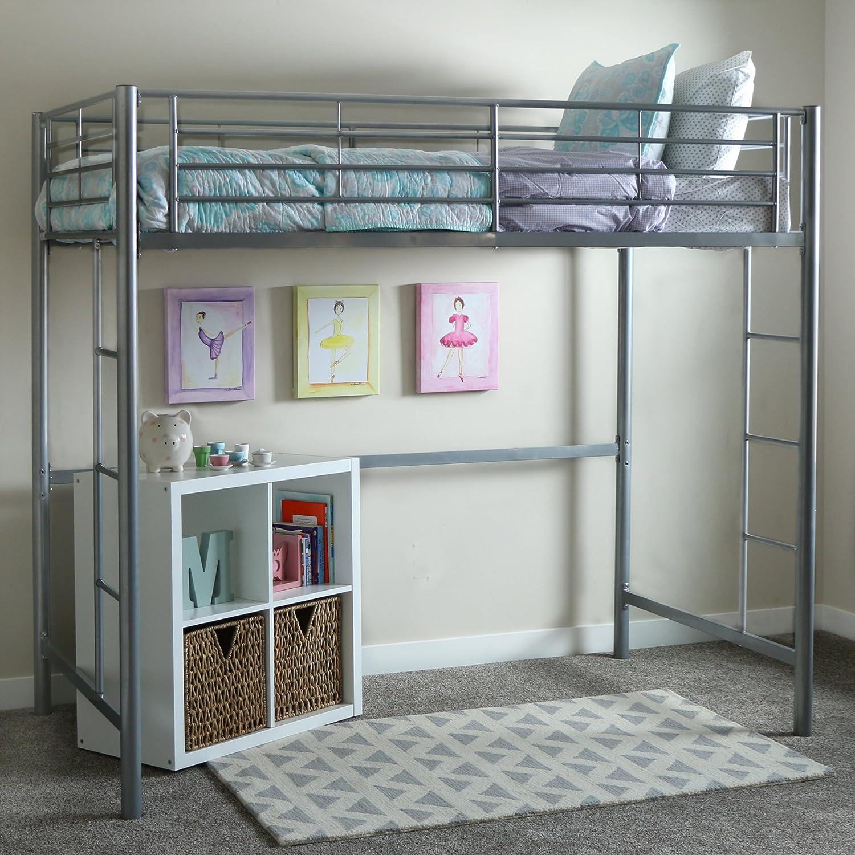 WE Furniture Grey loft bed, 71 x 42 x 79 , Silver