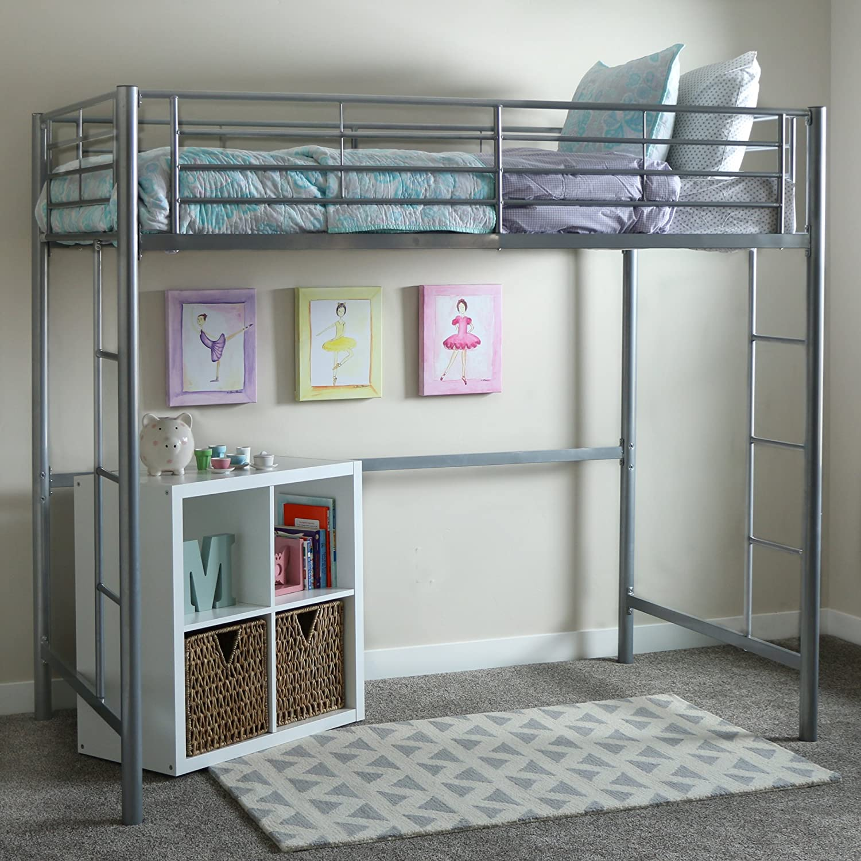 "WE Furniture AZTOLSL Grey loft Bed, 71"" x 42"" x 79"", Silver"