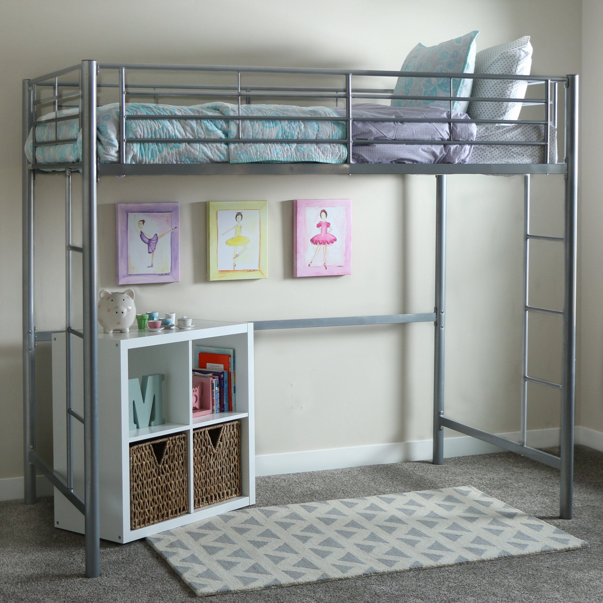 WE Furniture AZTOLSL Grey loft Bed, 71'' x 42'' x 79'', Silver