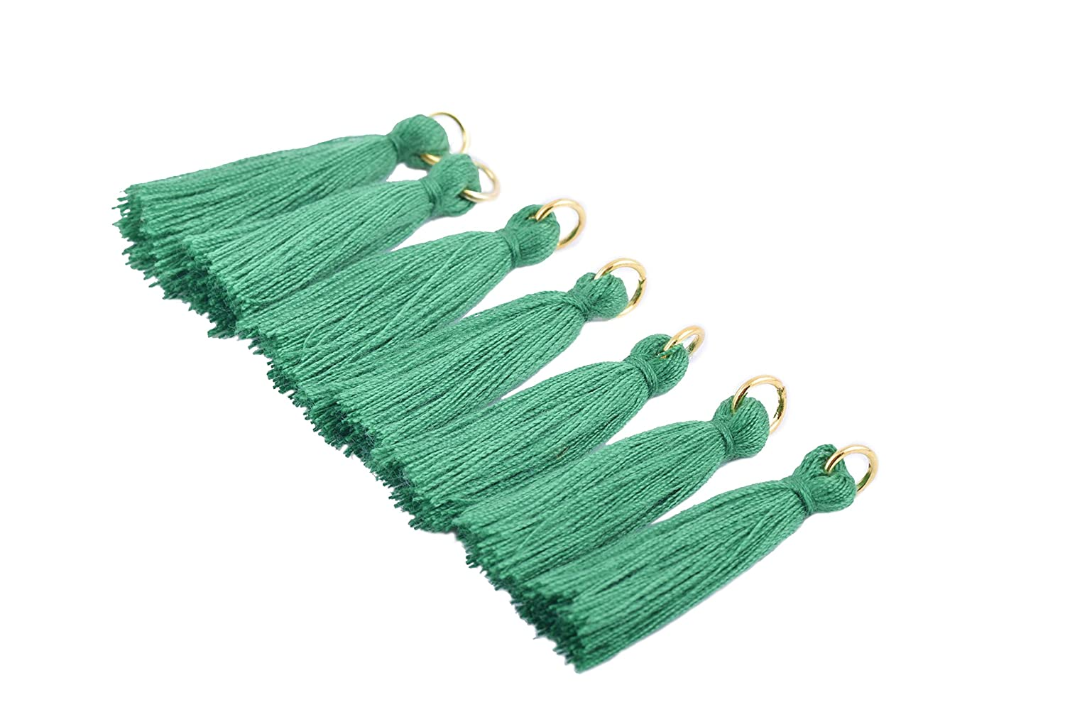 Soft Handmade Silky Tiny Craft Tassels with Golden Jump Ring for DIY Projects KONMAY 50PCS 1.4 3.5cm Teal