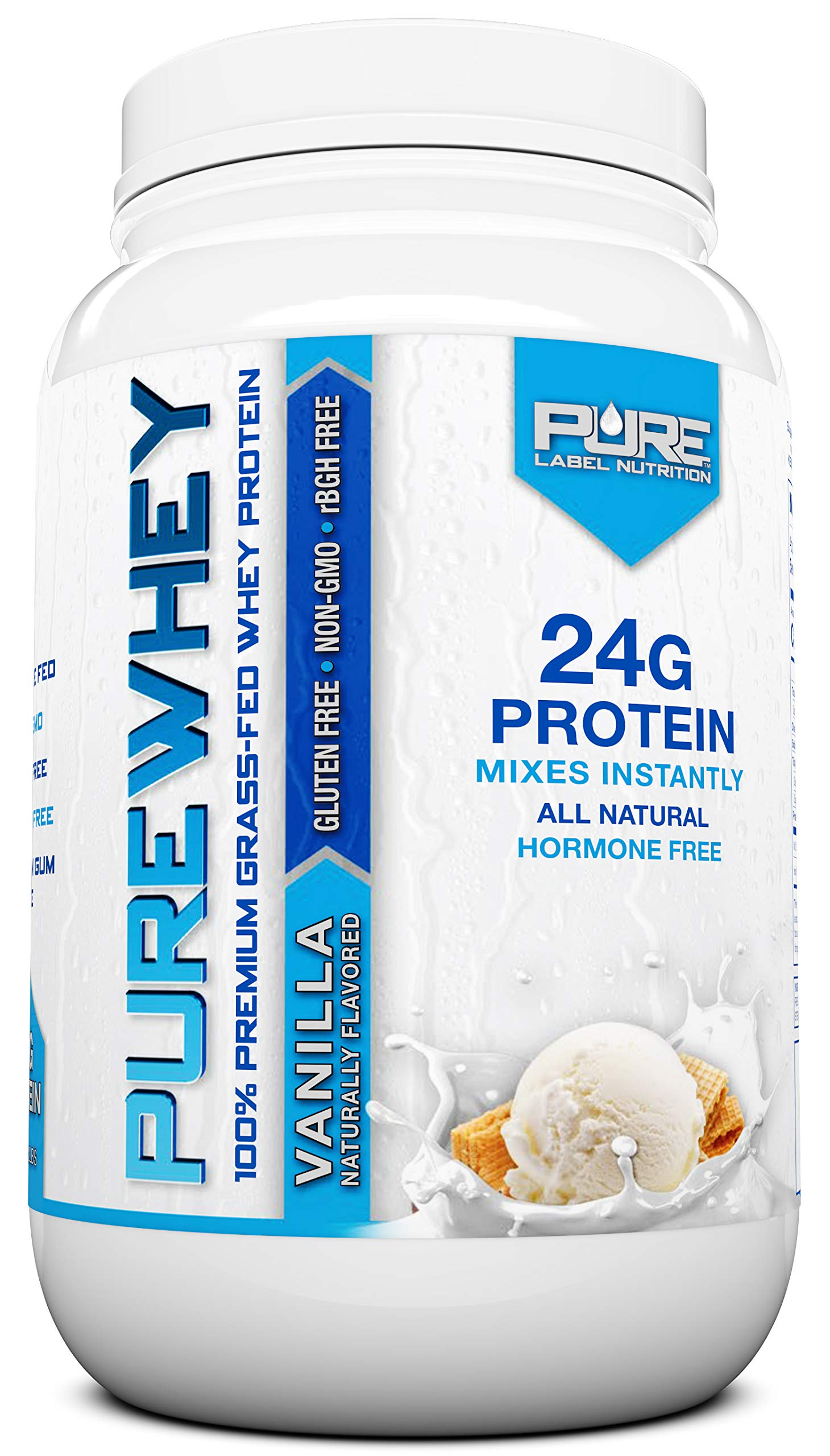 Grass Fed Whey Protein Powder | Vanilla 2lb Grass Fed Whey | 100% Natural Whey w/No Added Sugars | rBGH Free + GMO-Free + Gluten Free + Preservative Free | Pure Whey by Pure Label Nutrition