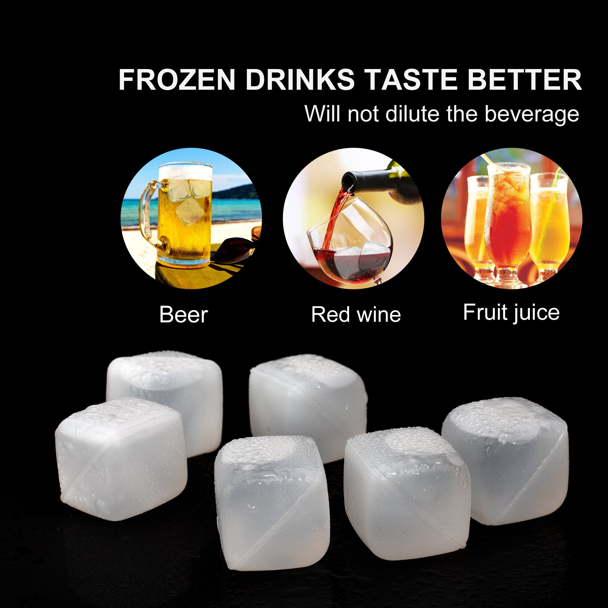 Reusable Ice Cubes [BPA Free, Dishwasher Safe] Cooking Ball Rocks for Whiskey Wine Beer and Drinks 12 PCS