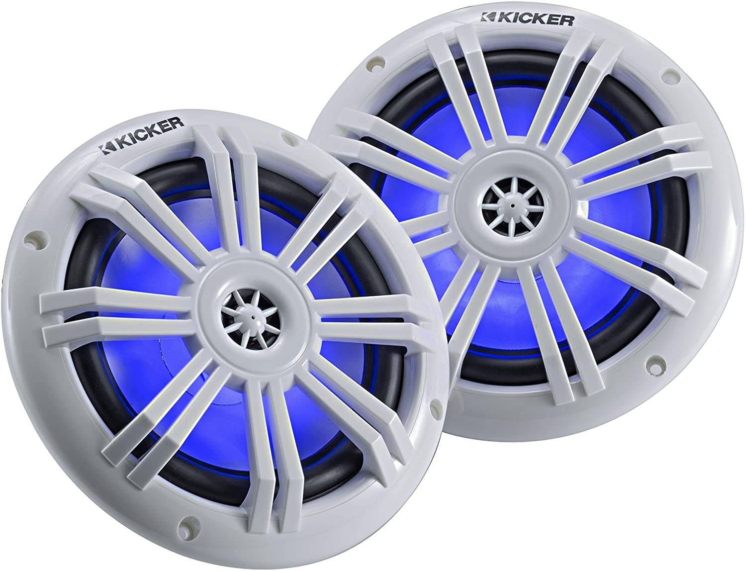 Kicker 45KM604WL 6.5 Inch 2 Way Coaxial Marine Light Up LED Boat Speakers, Pair, 4 Ohm, 150 Max Watts, Blue