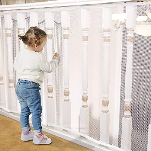 Banister Guard for Baby – 15ft x 3ft, Child Safety Net, Rail Balcony Banister Stair Mesh for Kids, Toys, Pets – White