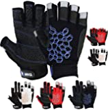 MRX BOXING & FITNESS Multicolored Sailing Gloves with Sticky Palm Grip for Men and Women, Short Finger or 2 Cut Finger Gloves for Fishing, Yachting, Workouts