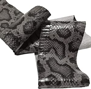 "Python Print Snake Skin Cobra Snakeskin Leather Hide Craft Supply Gray Combo (5.25"" W x 60"" L)"