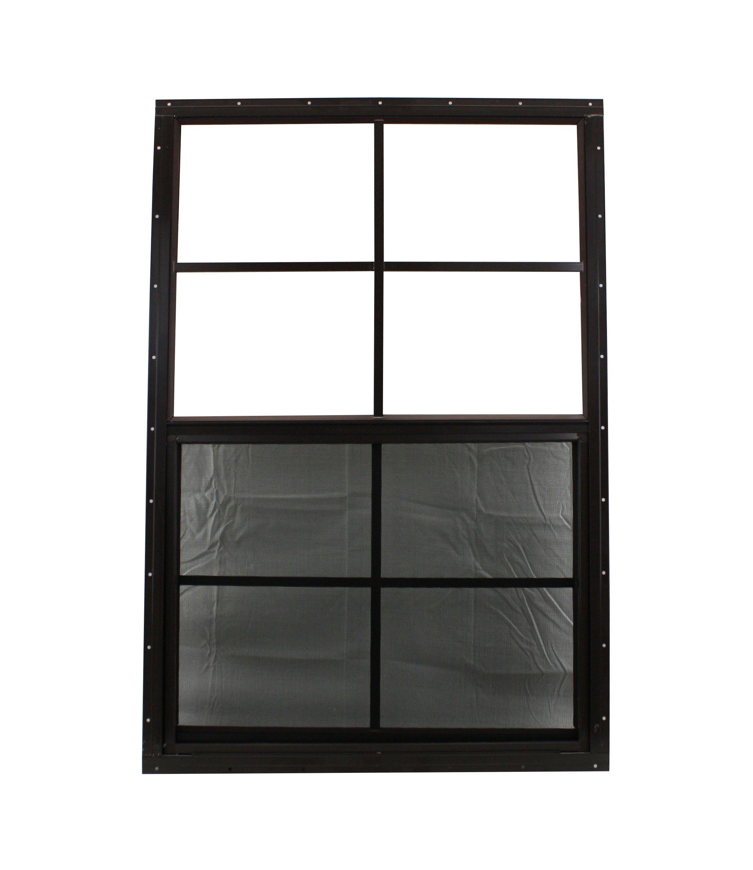 Shed Windows 24'' X 36'' Brown Flush Mount, Safety/Tempered Glass Playhouse Windows, Chicken Coop Windows