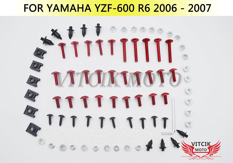 clip in alluminio CNC Rosso /& Argento VITCIK Kit completo di carenatura viti bulloni per YZF600 R6 2006 2007 YZF-600 YZF 600 R6 06 07 Serraggio per moto