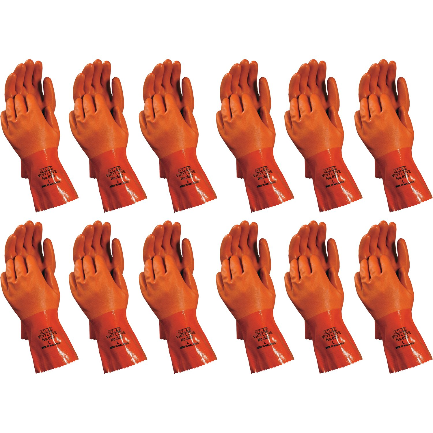 Atlas 620 Vinylove Double-Dipped X-Large PVC Chemical Resistant Gloves, 12-Pairs by ATLAS (Image #1)