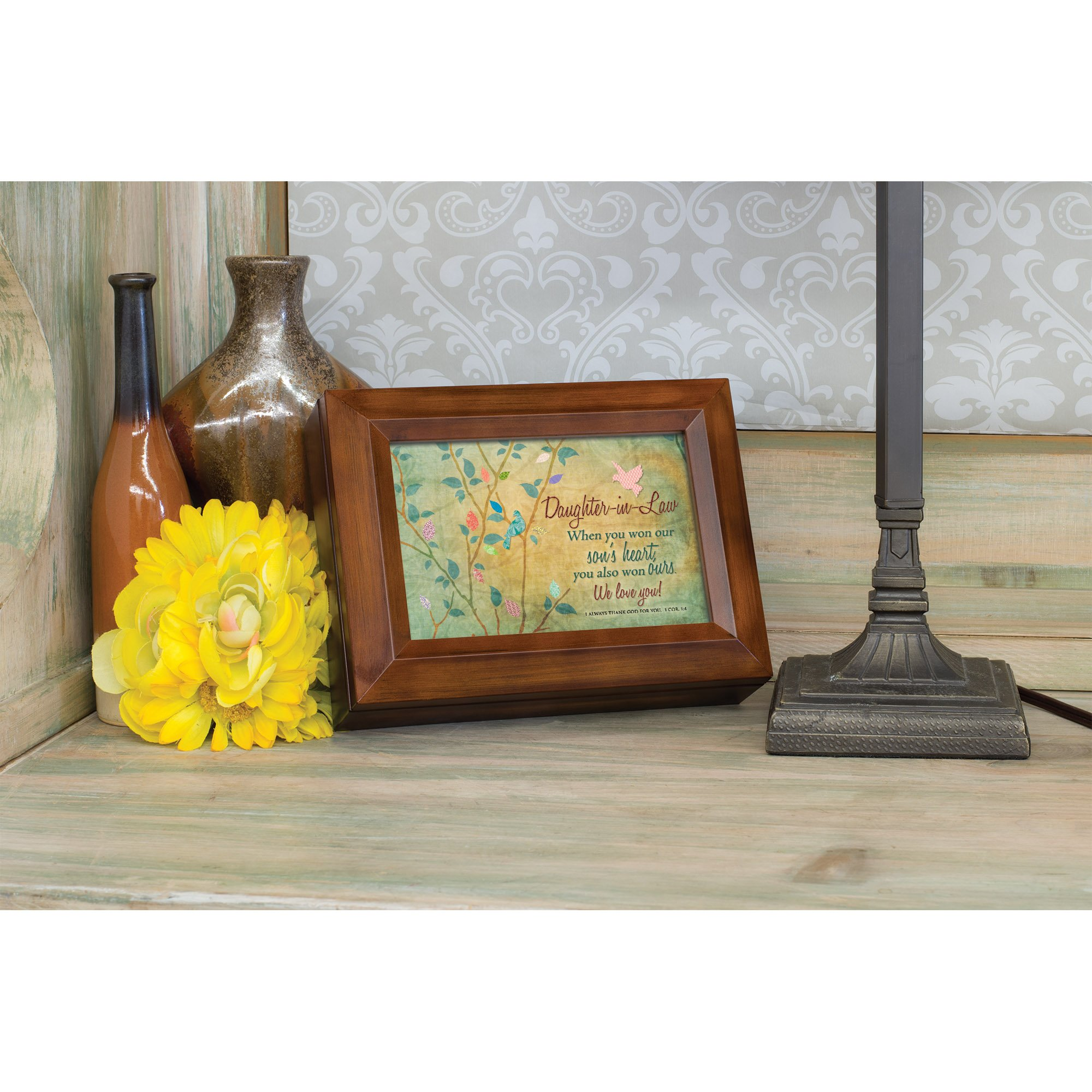 Cottage Garden Daughter-in-Law We Love You Wood Finish Jewelry Music Box - Plays Tune You Are My Sunshine by Cottage Garden (Image #5)