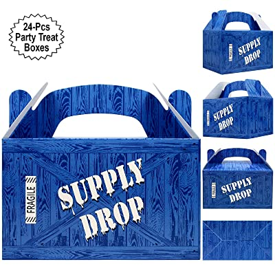 Supply Drop Favor Box | 24 Count Party Treat Boxes | Battle Gamers Goodie Loot Drop Box | Blue Crate Party Supplies Gamer Decorations: Toys & Games