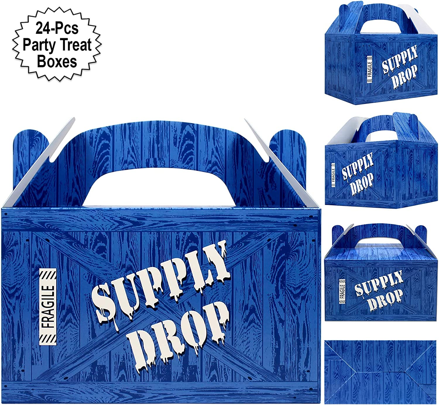 Supply Drop Favor Box | 24 Count Party Treat Boxes | Battle Gamers Goodie Loot Drop Box | Blue Crate Party Supplies Gamer Decorations