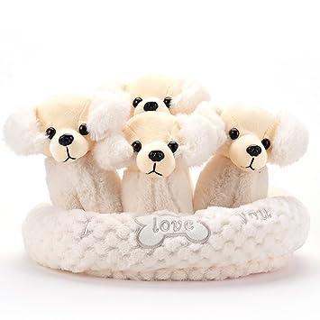 Gloveleya Perro Peluche Relleno Animal Una Camada 4 Cachorros Juguetes con Perrito Perrera Mascota Blanco