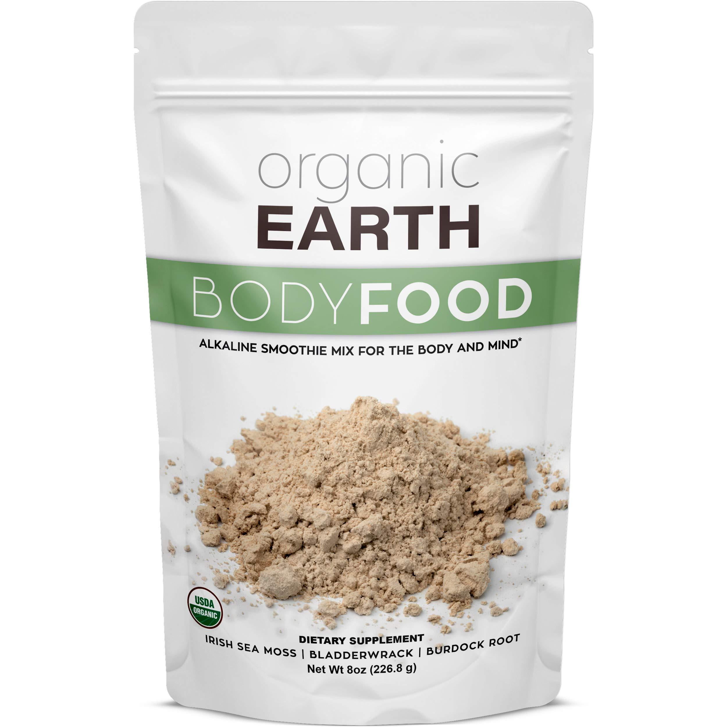 Organic Earth Irish Sea Moss Powder (8 Ounces) Super Cell Body Food - Wildcrafted Irish Sea Moss Bladderwrack Plus Burdock Root Powder - Natural Irish Moss Seaweed - USDA Certified Organic