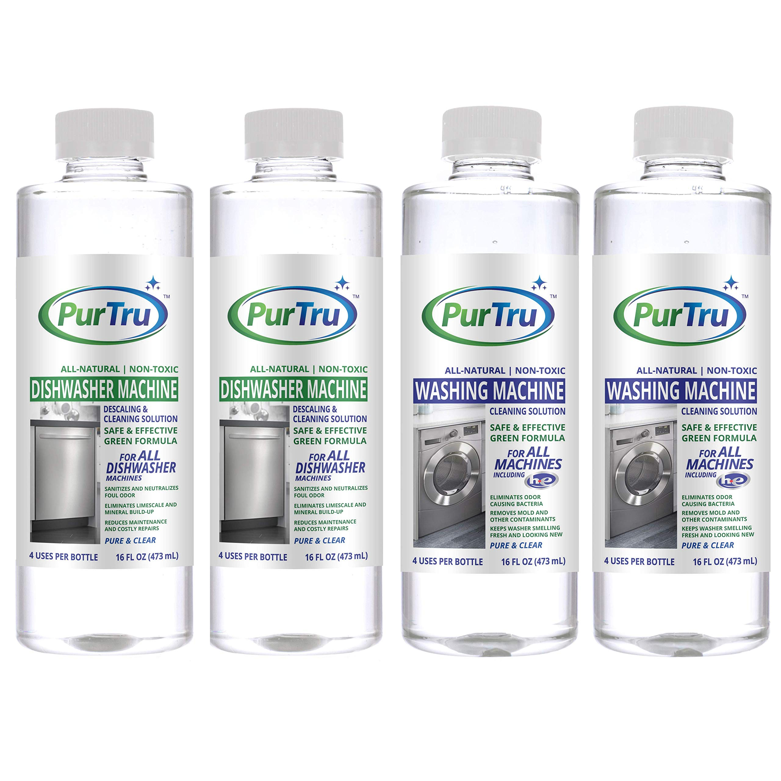 Dishwasher and Washing Machine Cleaner (4 Pack) - All-Natural Non-Toxic and Safe Descaling & Cleaning Solution for All Types of Dishwashers and HE and Non HE Washers by PurTru
