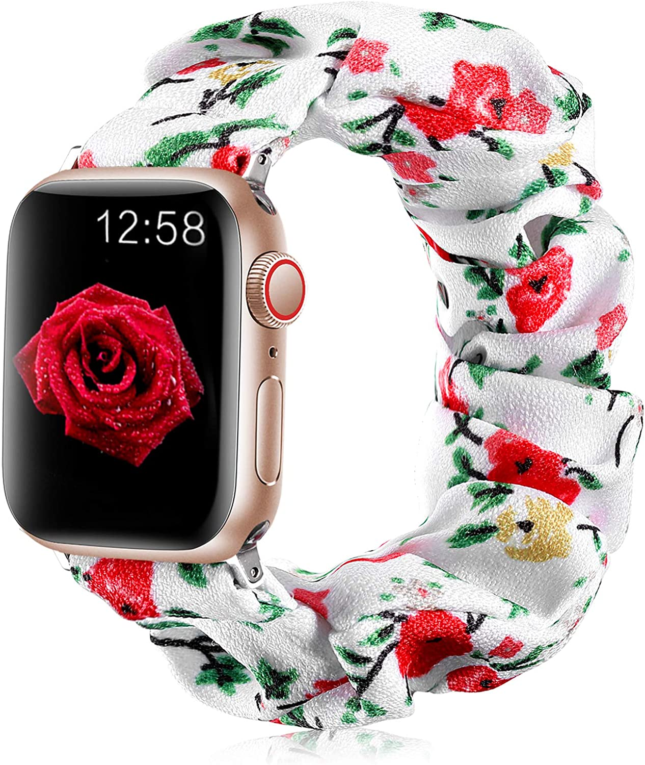 Henva Scrunchies Band Compatible with Apple Watch SE Series 6/5/4 40mm for Women Grils, Soft Elastic Scrunchy Floral Wristbands Replacement for iWatch 38mm Series 3/2/1, Wildflowers, S/M
