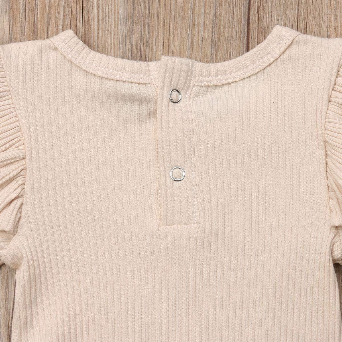 Baumwolle 0-24 Monate Carolilly Body Baby M/ädchen Strampler mit R/üschen Uni