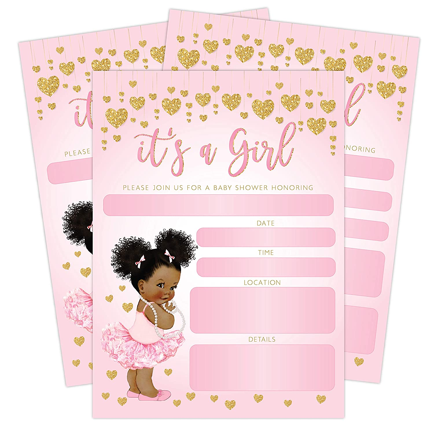 Amazon.com: It's a Girl Pink and Gold Hearts Baby Shower Invitation,  African American Baby Ballerina Princess, 20 Invitations with envelopes:  Health ...