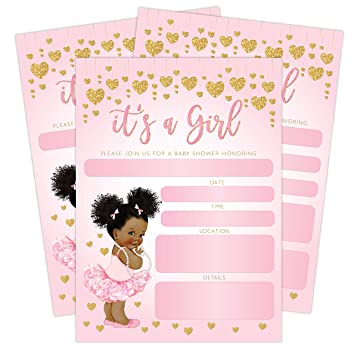 photograph regarding Free Printable African American Baby Shower Invitations titled Its a Female Red and Gold Hearts Kid Shower Invitation, African American Kid Ballerina Princess, 20 Invites with envelopes