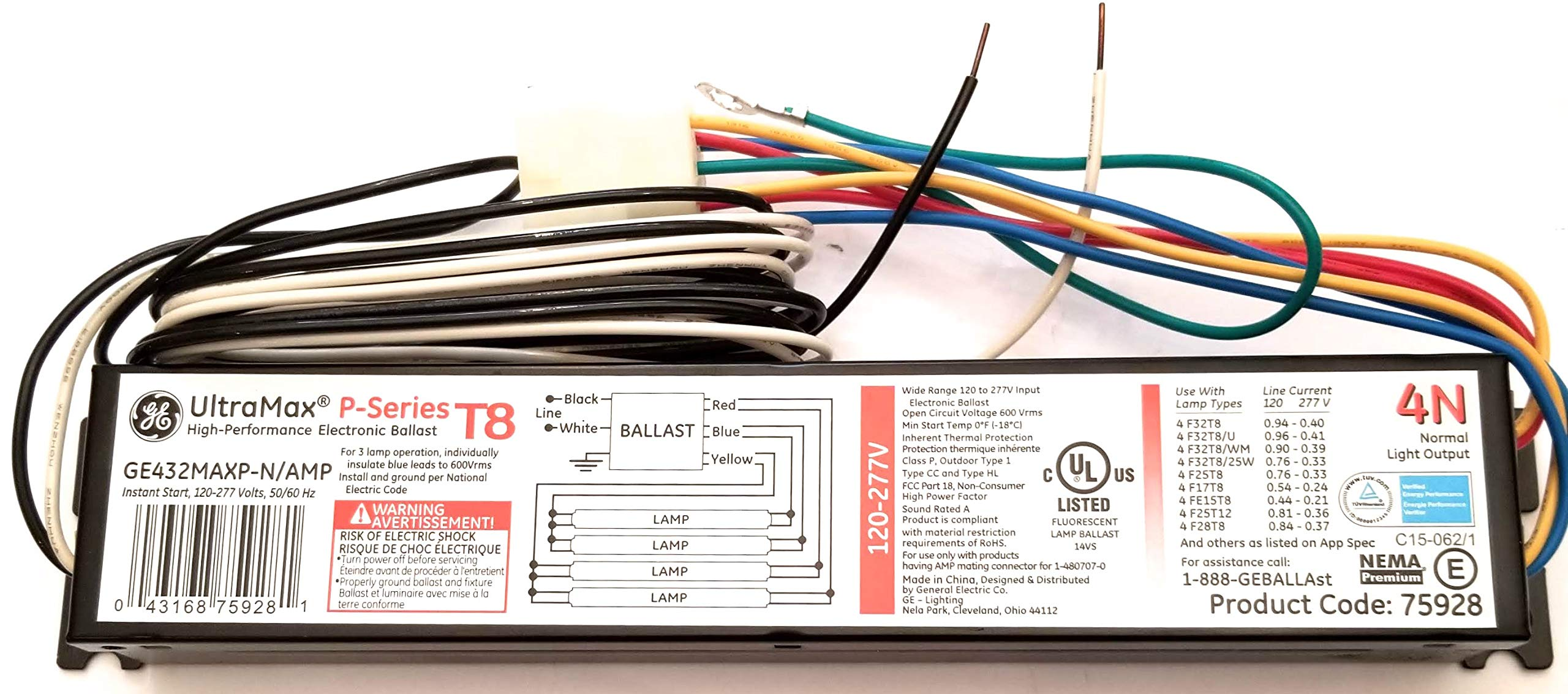 (10 Pack) GE 75928 GE432MAXP-N/Amp 3 or 4 Lamp T8 Electronic Ballast F32T8 F25T8 F17T8 FE15T8 F25T12 F28T8 F36T8 F40T8-120 Volt To 277 Volt - Ultra Max 4N Amp Connector P Series