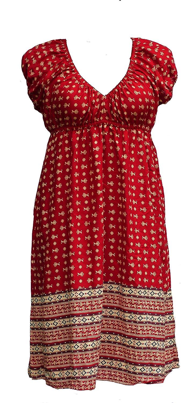 Induswelt Damen Kleider V-Ausschnitt A-Linie Plus /Übergr/ö/ßen Gro/ße Gr/ö/ßen Umstandskleid rot