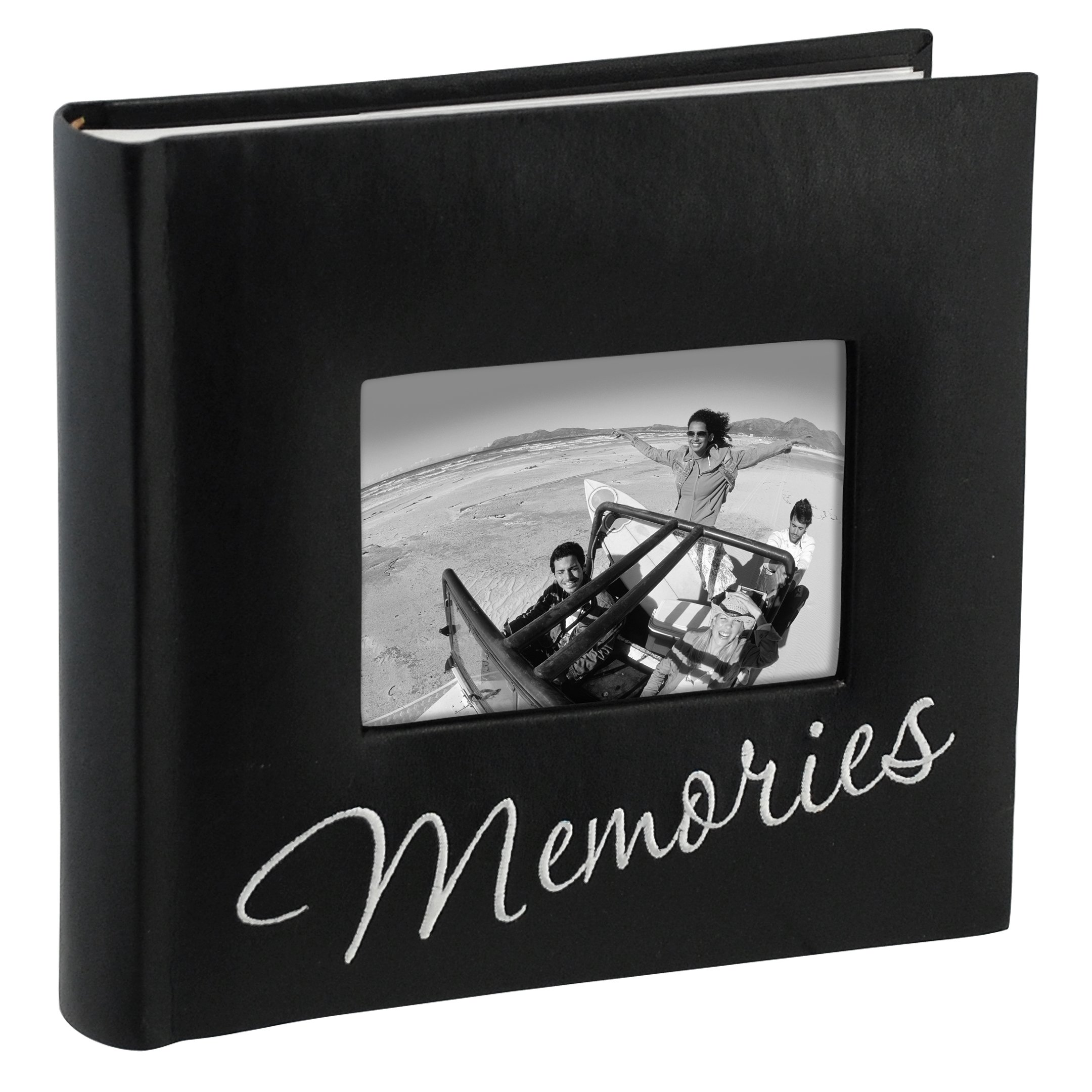 Malden International Designs Memories Cursive 2-Up With Memo Space Photo Album, 160-4x6, Black by Malden International Designs (Image #1)