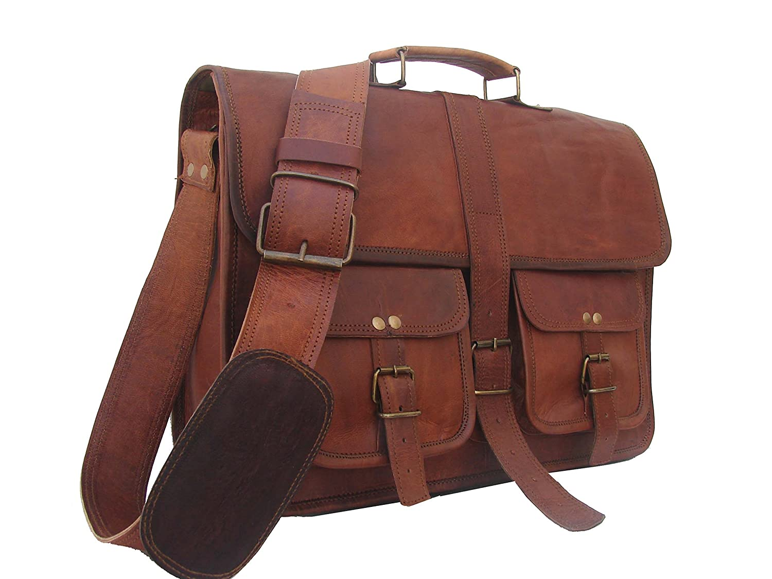 New 16 Vintage leather Messenger Bag for Mens Laptop Bag Office Briefcase