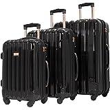 kensie Women's Alma Hardside Spinner Luggage, Metallic Black, 3-Piece Set (20/24/28)
