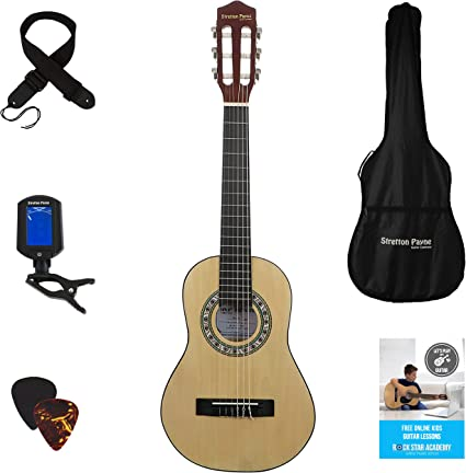 Left Handed Acoustic Guitar Package 1 4 Sized 31 Inch Age 3 To 6 Classical Nylon String Childs Guitar Pack Natural Amazon Co Uk Musical Instruments