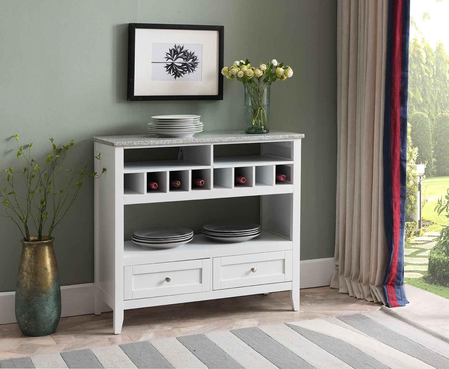 Kings Brand Furniture White With Marble Finish Buffet Display Console Table With Wine Storage by Kings Brand Furniture