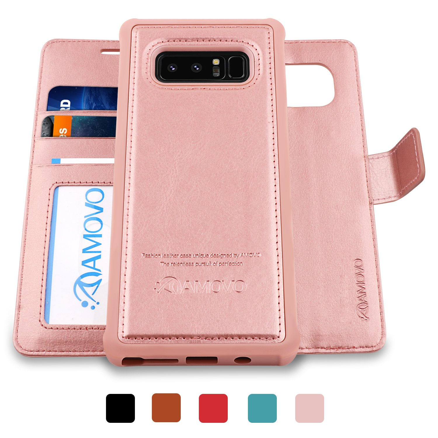 AMOVO Galaxy Note 8 Case [2 in 1]  Samsung Galaxy Note 8 Wallet Case [Detachable Wallet Folio] [Premium Vegan Leather] Samsung Note 8 Flip Cover with Gift Box Package (Rose Gold)