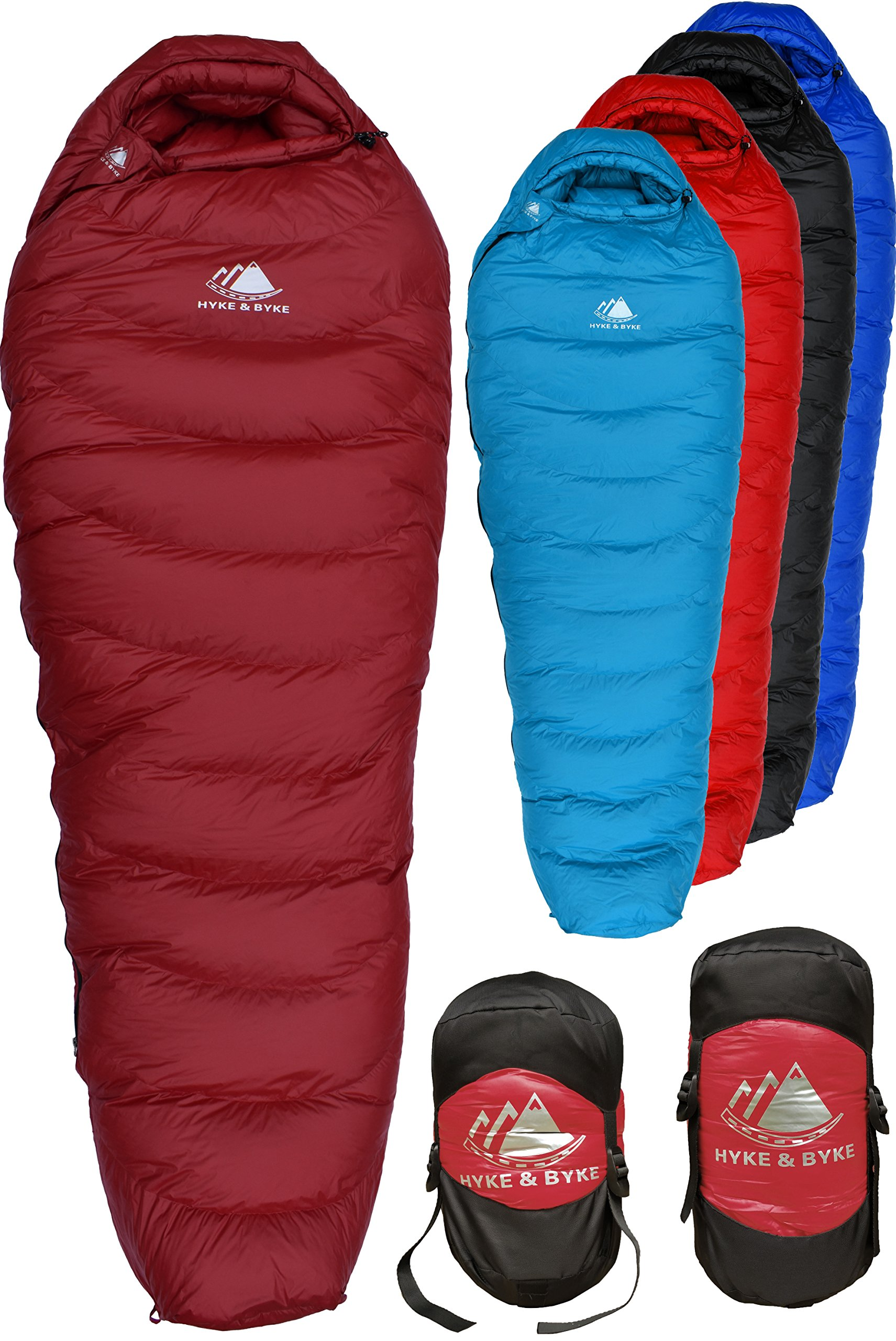 Hyke & Byke Snowmass 0 Degree F 650 Fill Power Hydrophobic Down Sleeping Bag with ClusterLoft Base - Ultra Lightweight 4 Season Men's and Women's Mummy Bag Designed for Cold Weather Backpacking by Hyke & Byke