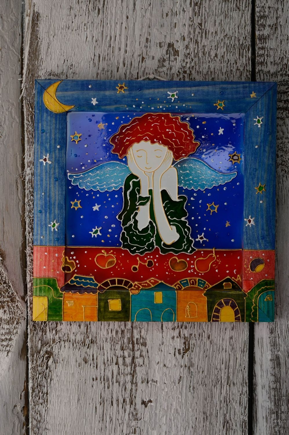 Handmade Stained Glass Wall Panel Dreamy Angel