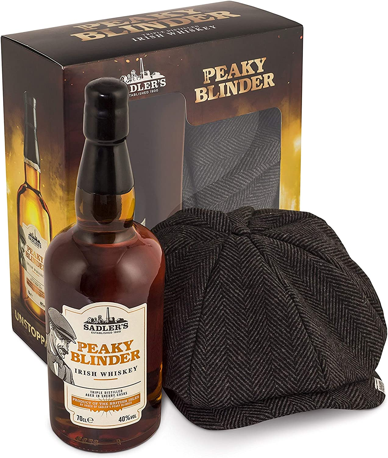 Peaky Blinder Whiskey Gift Set with a Gasby Style Cap in a Gift Box, 70 cl: Amazon.es: Alimentación y bebidas