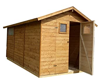 CADEMA - Casa de madera para jardín, 2, 7 m x 3, 9 m, (16 mm) con ventanas, incluye suelo, modelo: Sevilla: Amazon.es: Jardín
