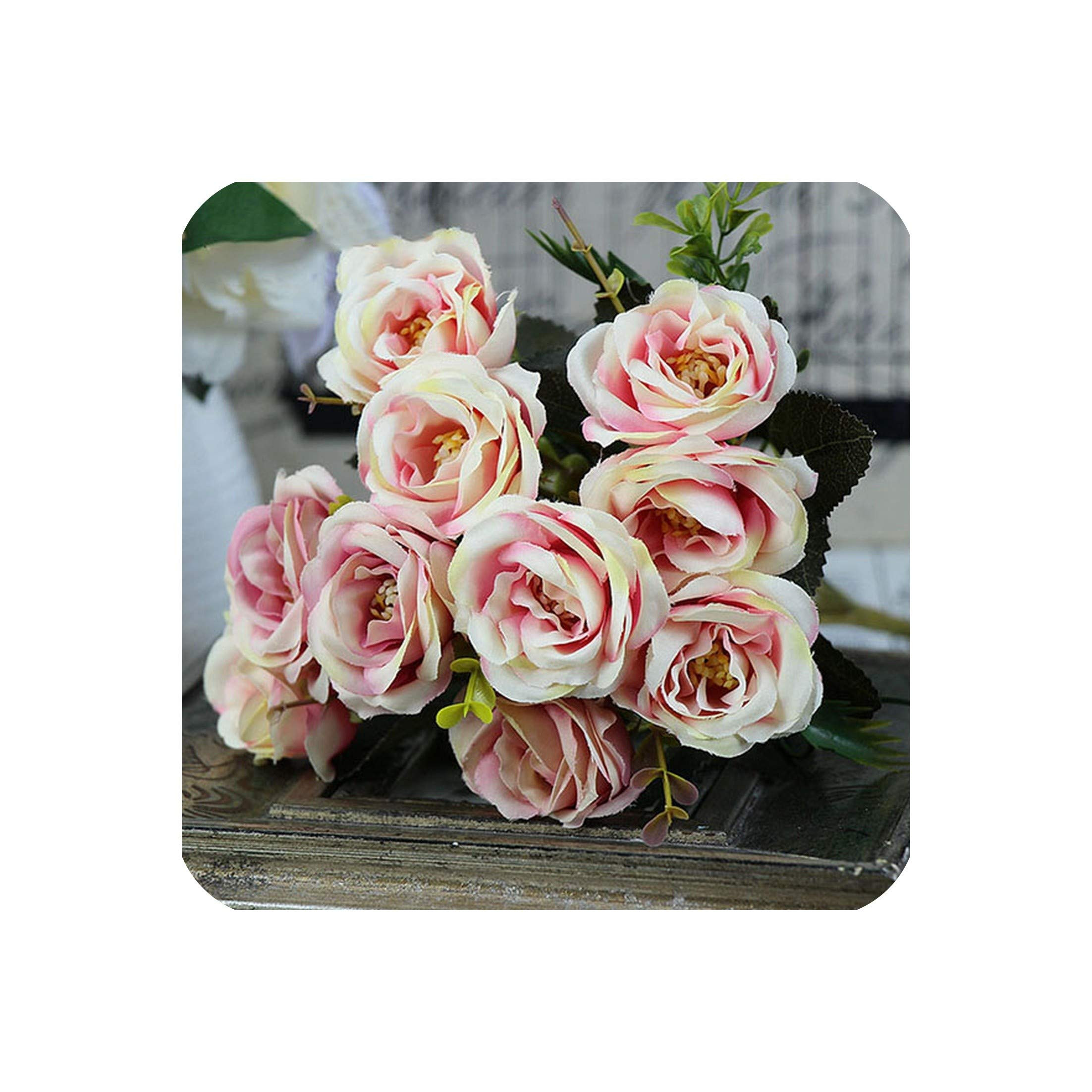 10 Heads Bouquet Rose Artificial Flowers Silk Peonies Small
