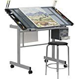 SD Studio Designs Studio Designs 2 Piece Vision Modern Metal Hobby, Craft, Drawing, Drafting Table, Mobile Desk with 40…