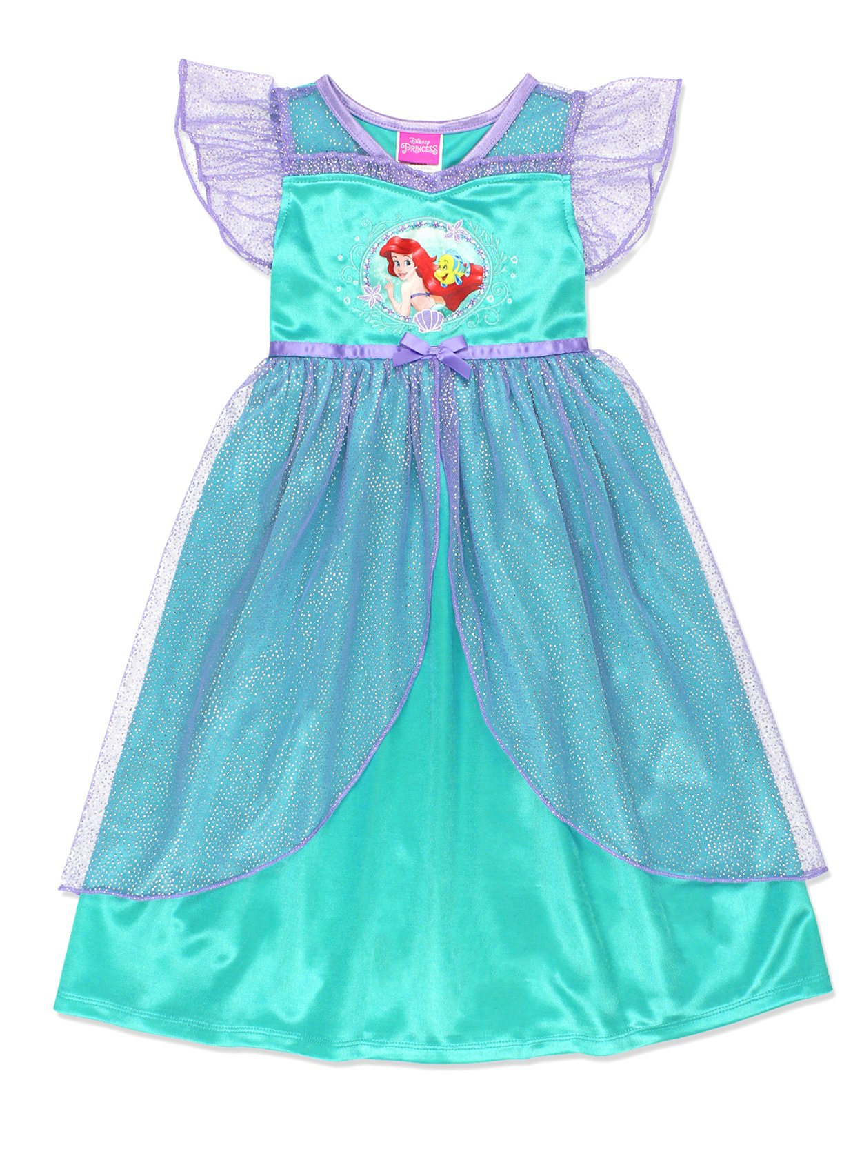 The Little Mermaid Ariel Girls Fantasy Gown Nightgown Pajamas (2T, Teal)