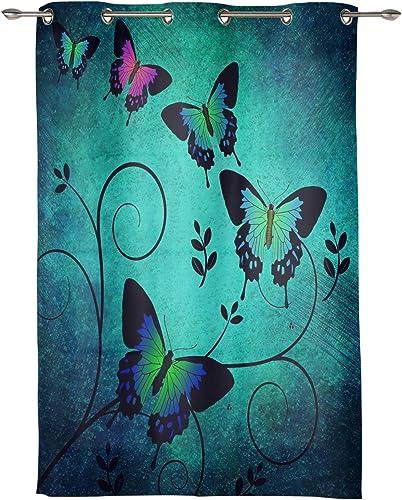 Seven Roses Retro Coloful Butterflies Filling Home Decor Grommet Curtain