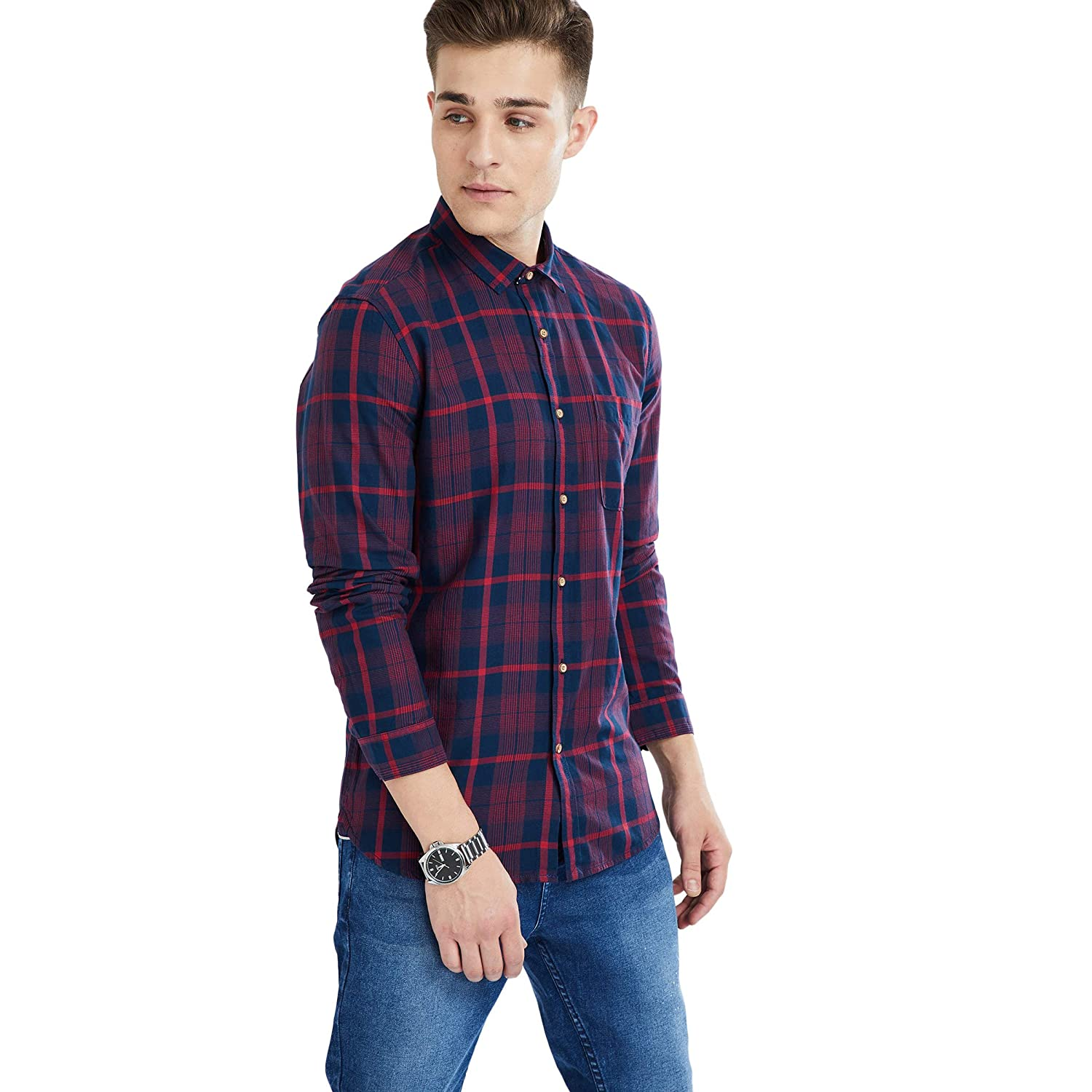 Max Men's Printed Slim Casual Shirt