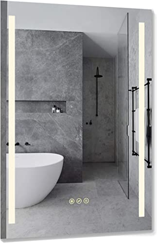 B C 24×36 inch Super Slim Bathroom Mirror Vertical 2 Led Strips Polished Edge Frameless Defogger Dimmer Touch Switch Copper Free Silver Backed