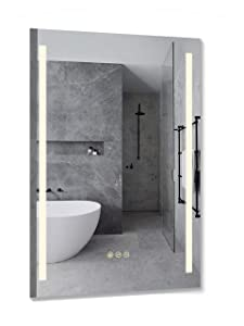 B&C 24x36 inch Super Slim Bathroom Mirror Vertical  2 Led Strips   Polished Edge &Frameless   Defogger & Dimmer Touch Switch Copper Free Silver Backed